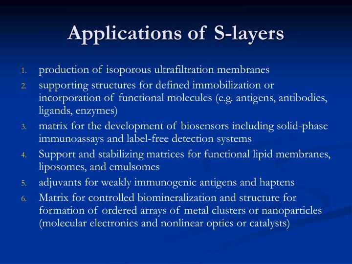 Applications of S-layers