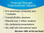 financial strength organizational capacity