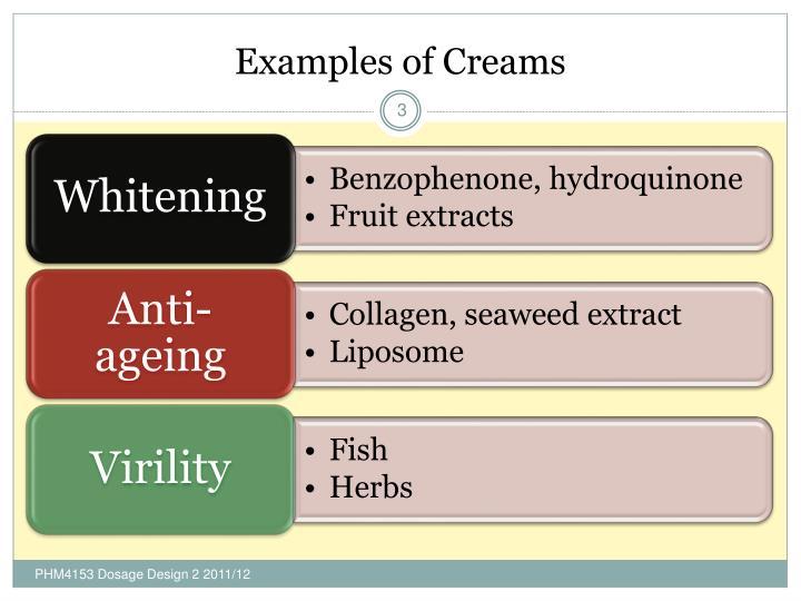 Examples of Creams