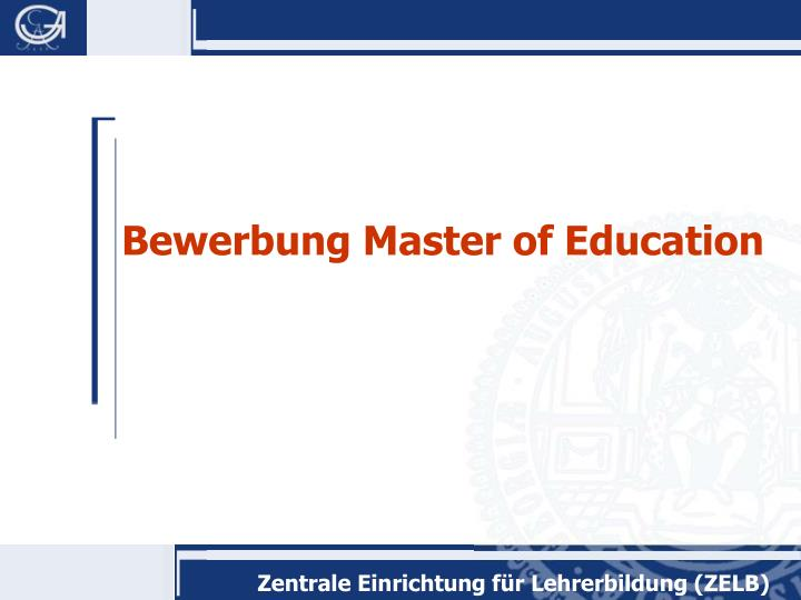 Bewerbung Master of Education