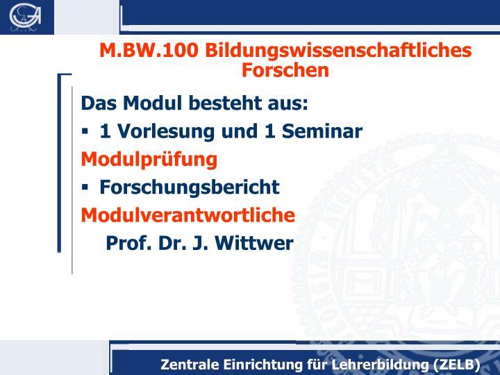 M.BW.100 Bildungswissenschaftliches Forschen