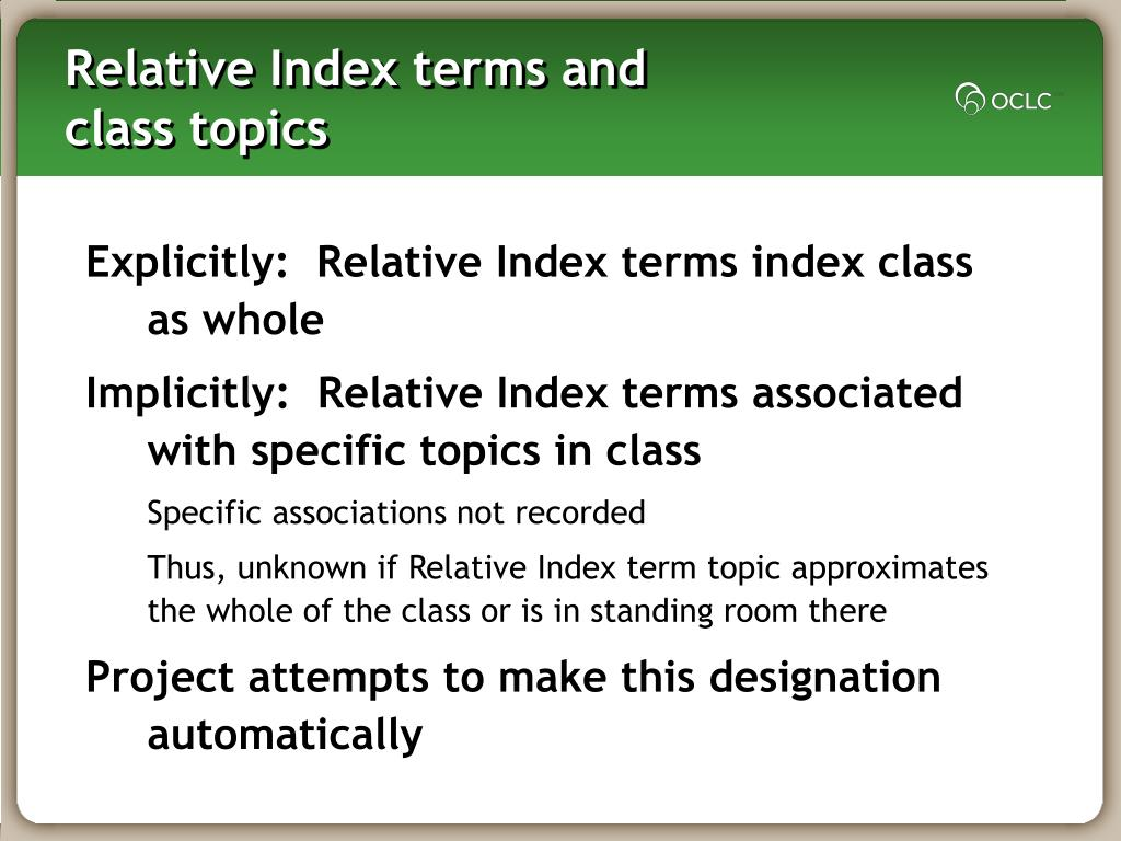 Relative Index terms and