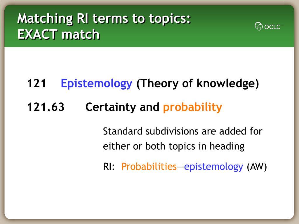 Matching RI terms to topics: