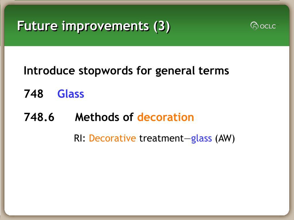 Future improvements (3)