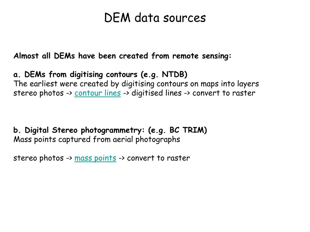 DEM data sources