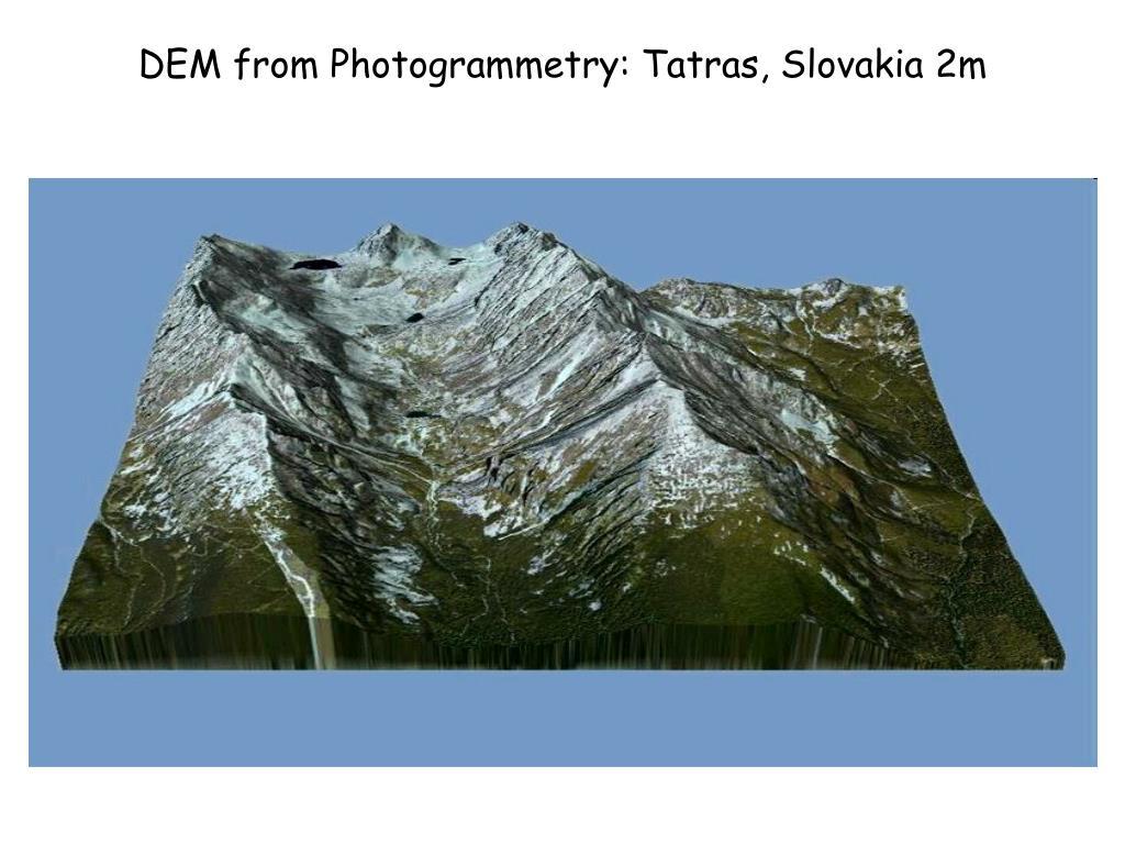 DEM from Photogrammetry: Tatras, Slovakia 2m
