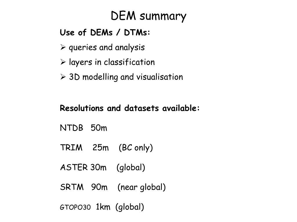 DEM summary