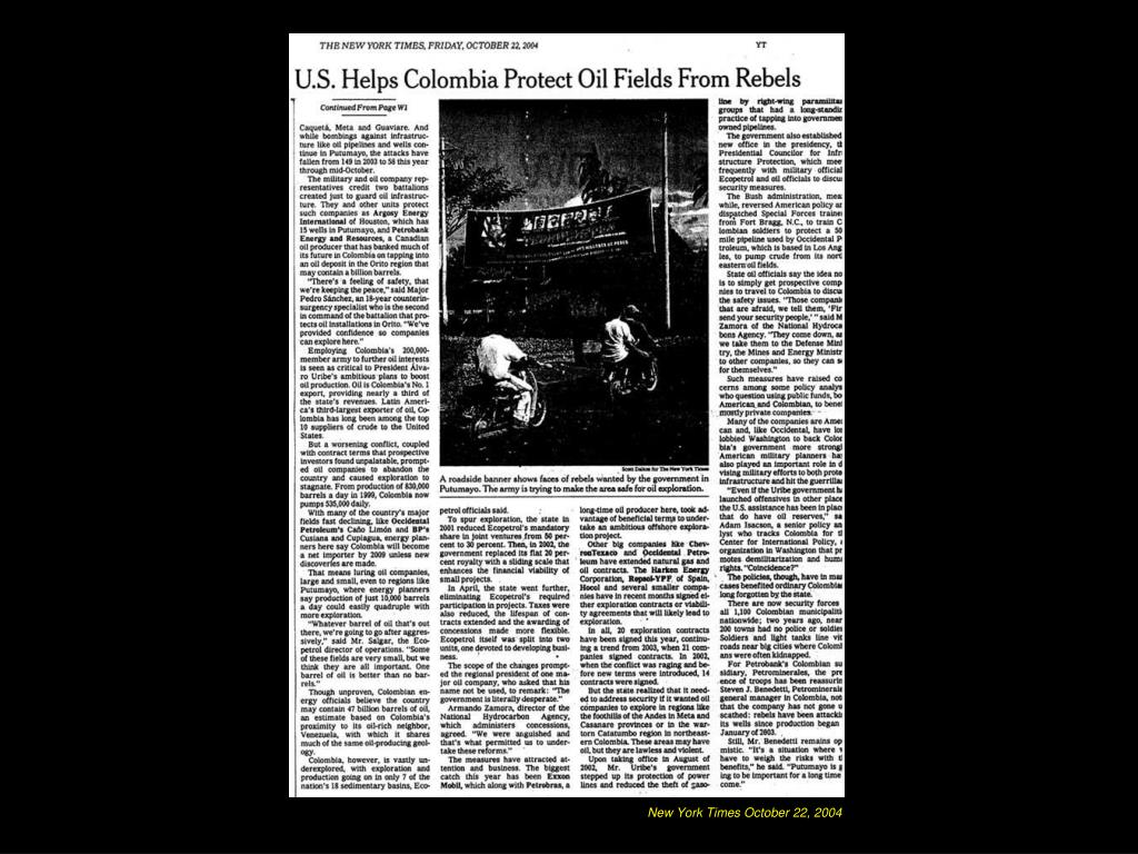 New York Times October 22, 2004