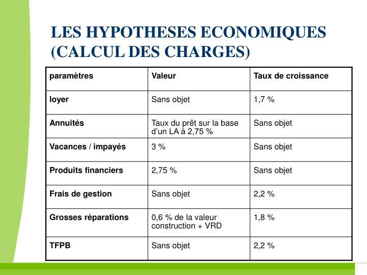 LES HYPOTHESES ECONOMIQUES (CALCUL DES CHARGES)