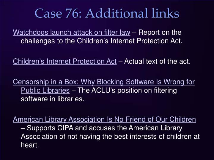 Case 76: Additional links