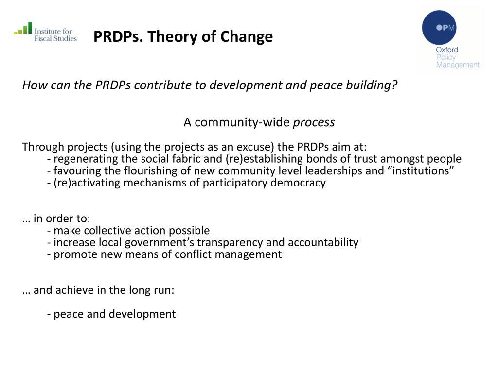 PRDPs. Theory of Change