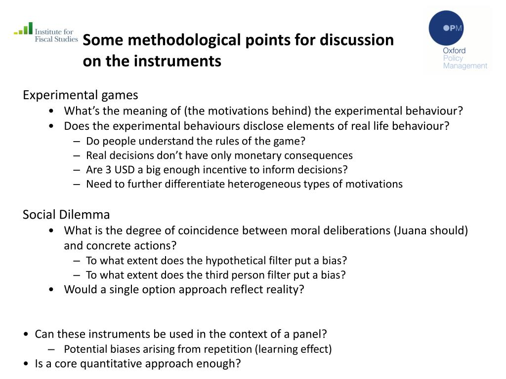 Some methodological points for discussion on the instruments