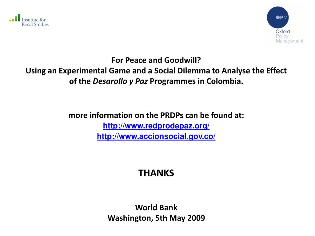 For Peace and Goodwill?