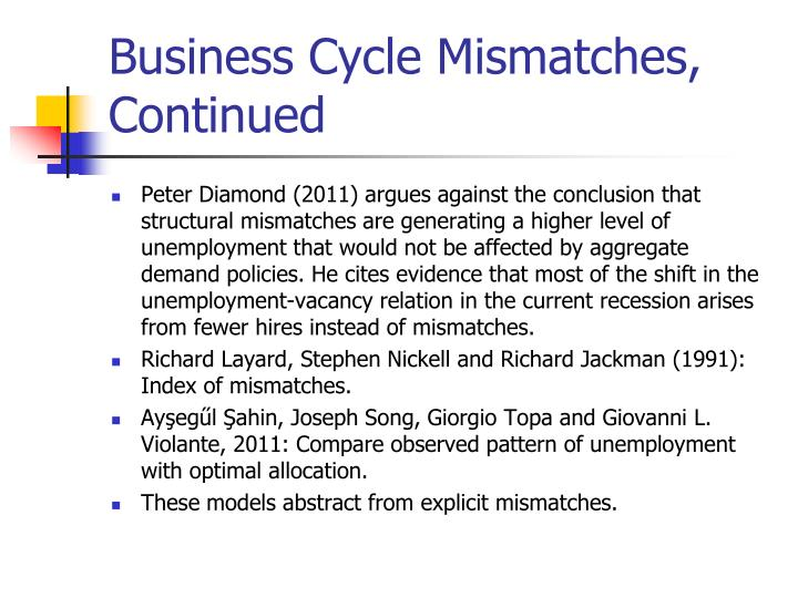 Business Cycle Mismatches, Continued