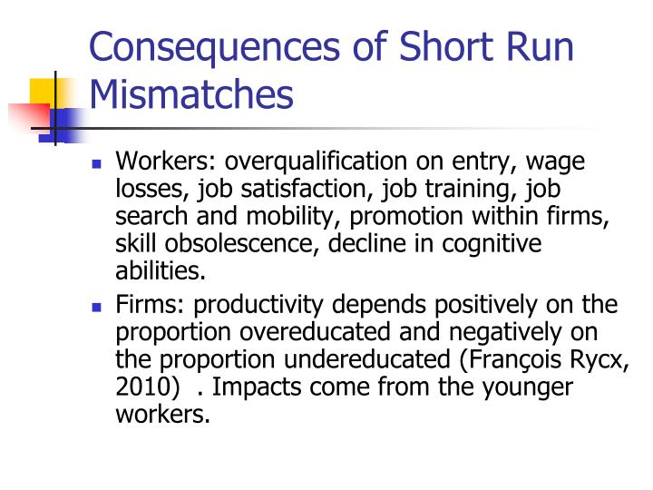 Consequences of Short Run Mismatches