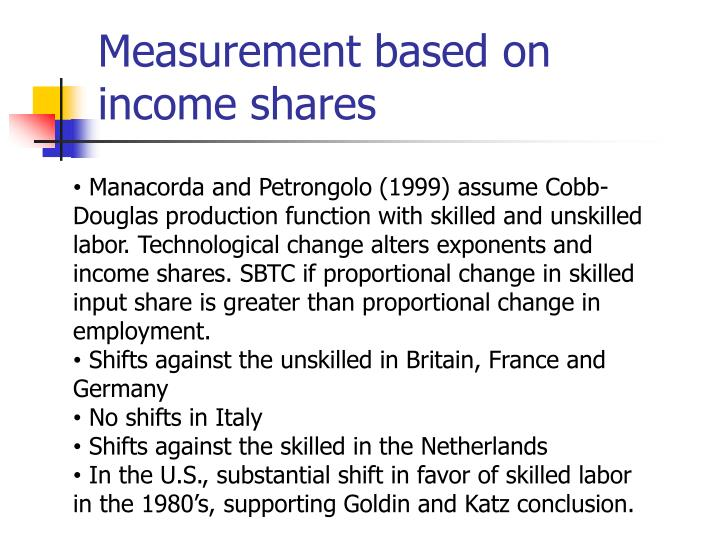 Measurement based on income shares