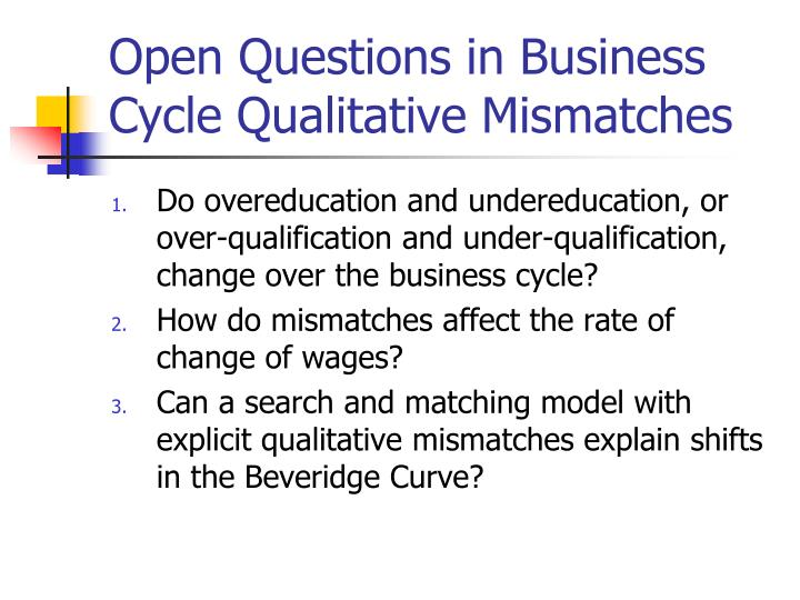 Open Questions in Business Cycle Qualitative Mismatches