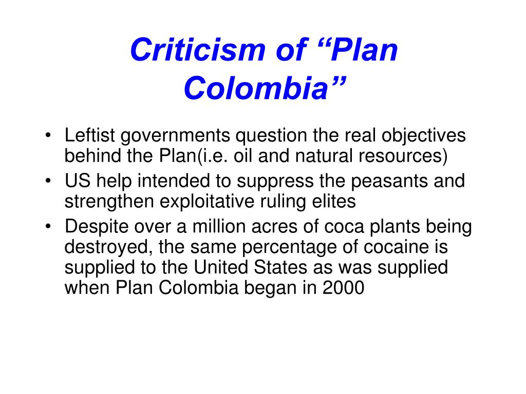"""Criticism of """"Plan Colombia"""""""