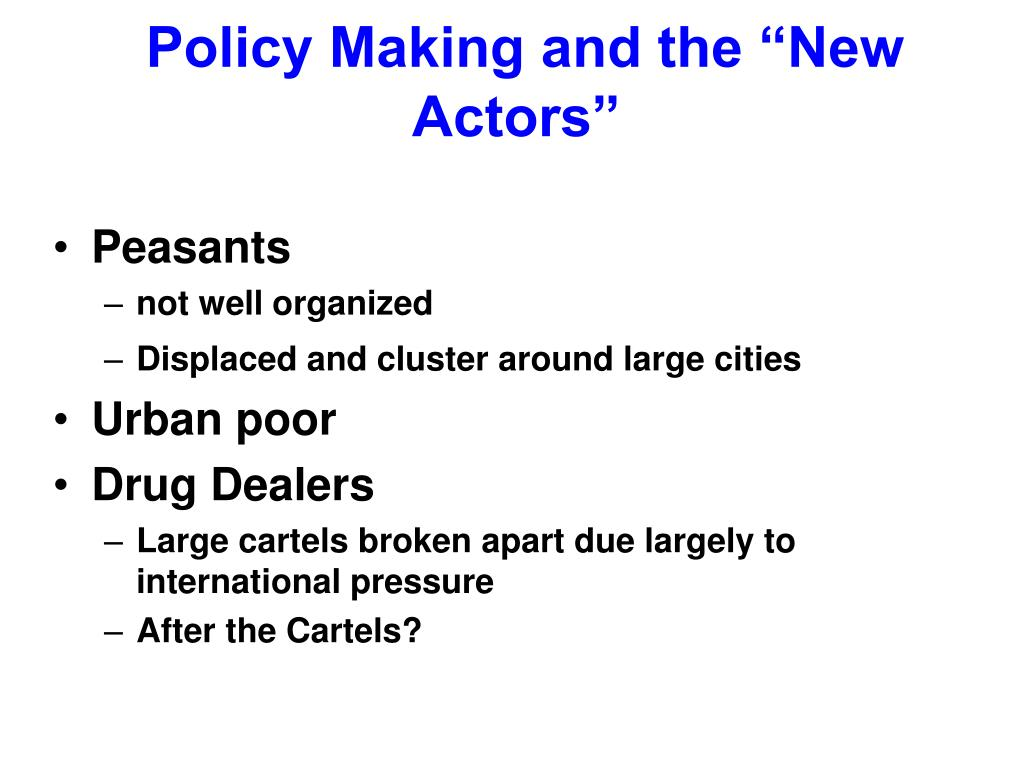 """Policy Making and the """"New Actors"""""""
