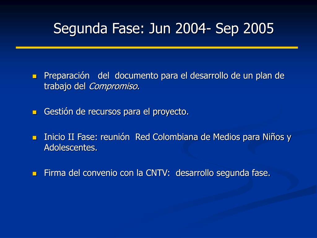 Segunda Fase: Jun 2004- Sep 2005