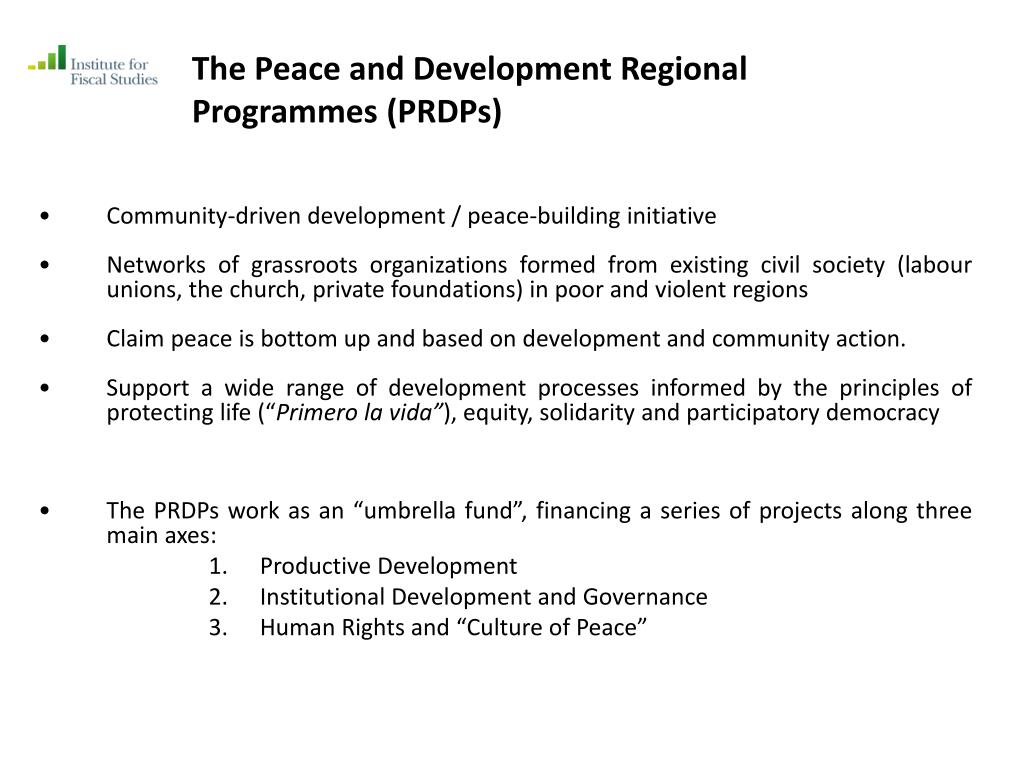 The Peace and Development Regional Programmes (PRDPs)