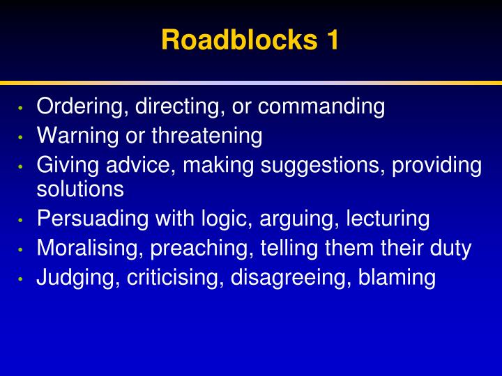 Roadblocks 1