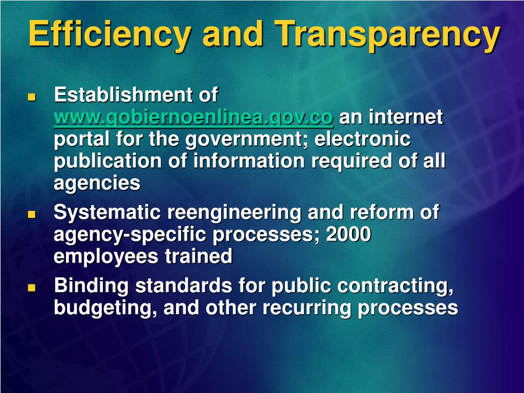 Efficiency and Transparency