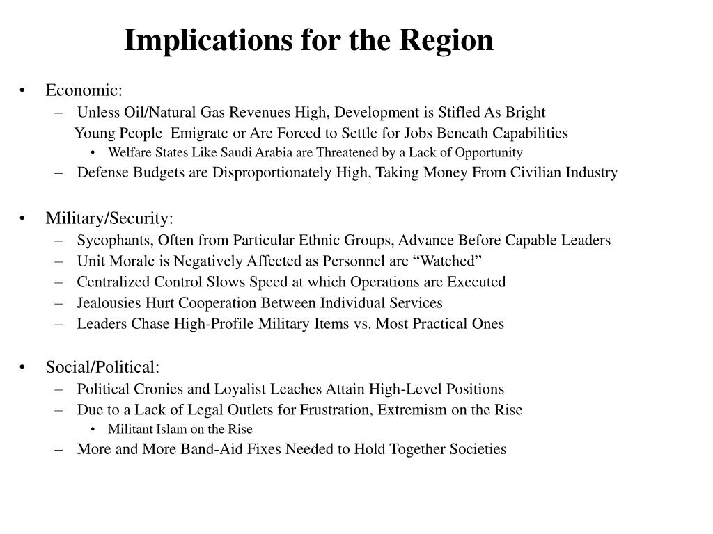 Implications for the Region