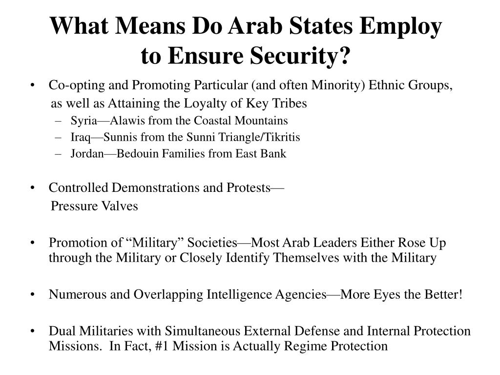 What Means Do Arab States Employ to Ensure Security?