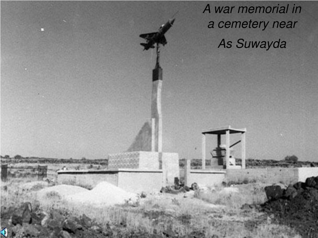A war memorial in a cemetery near As Suwayda