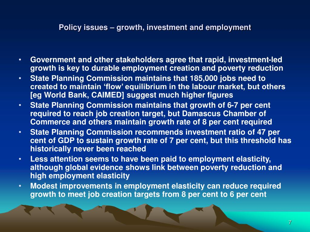Policy issues – growth, investment and employment