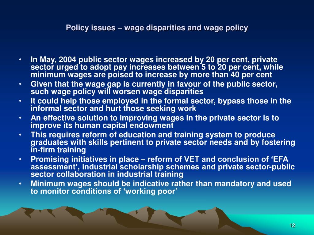 Policy issues – wage disparities and wage policy
