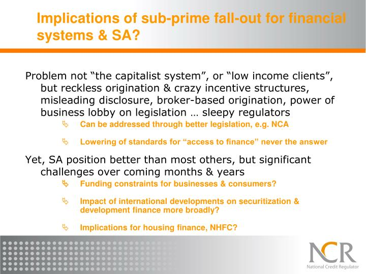 Implications of sub-prime fall-out for financial systems & SA?