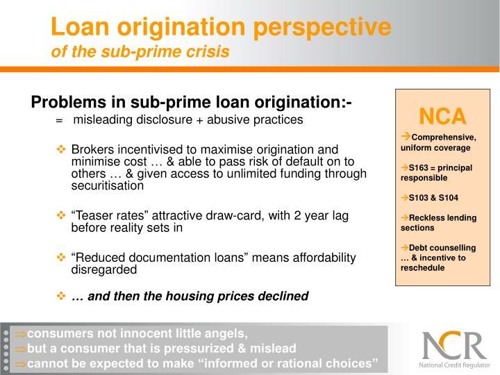 Loan origination perspective