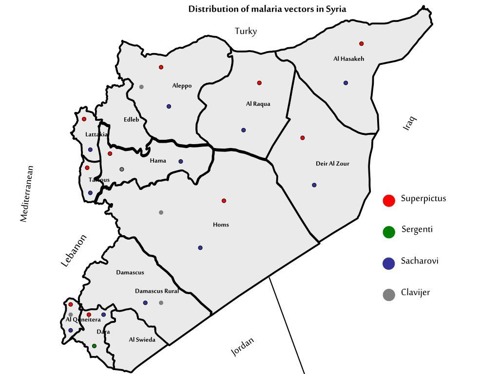 Distribution of malaria vectors in Syria