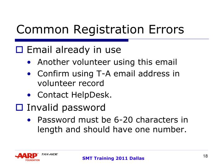 Common Registration Errors