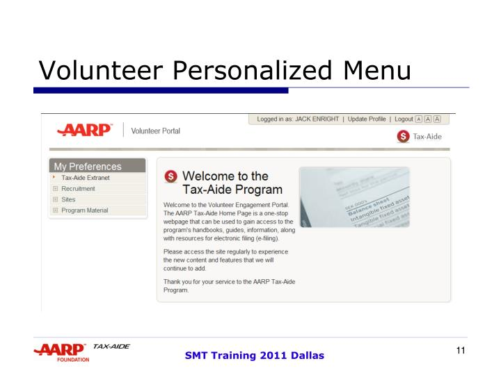 Volunteer Personalized Menu