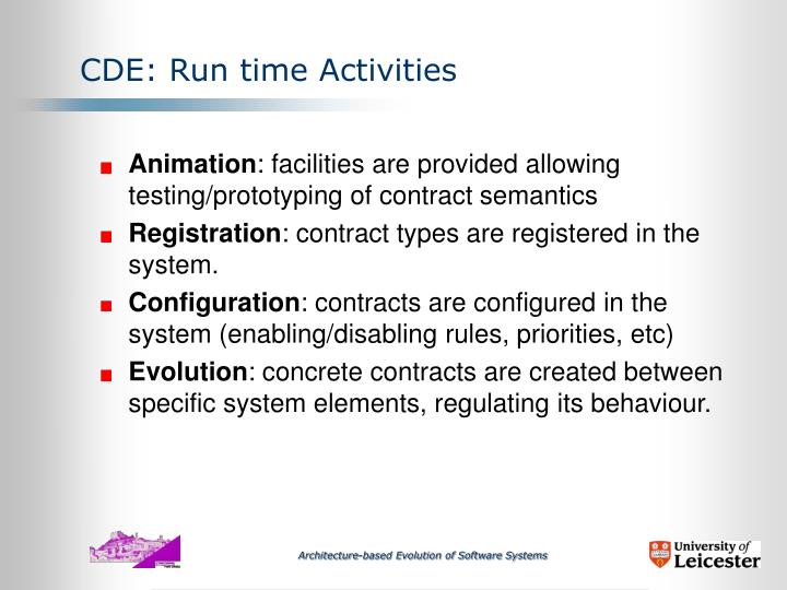 CDE: Run time Activities