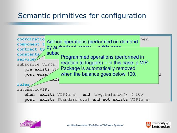 Semantic primitives for configuration