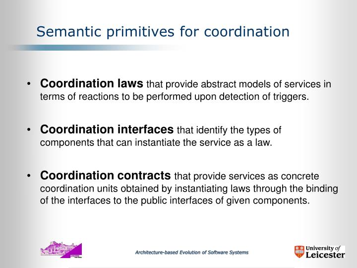 Semantic primitives for coordination