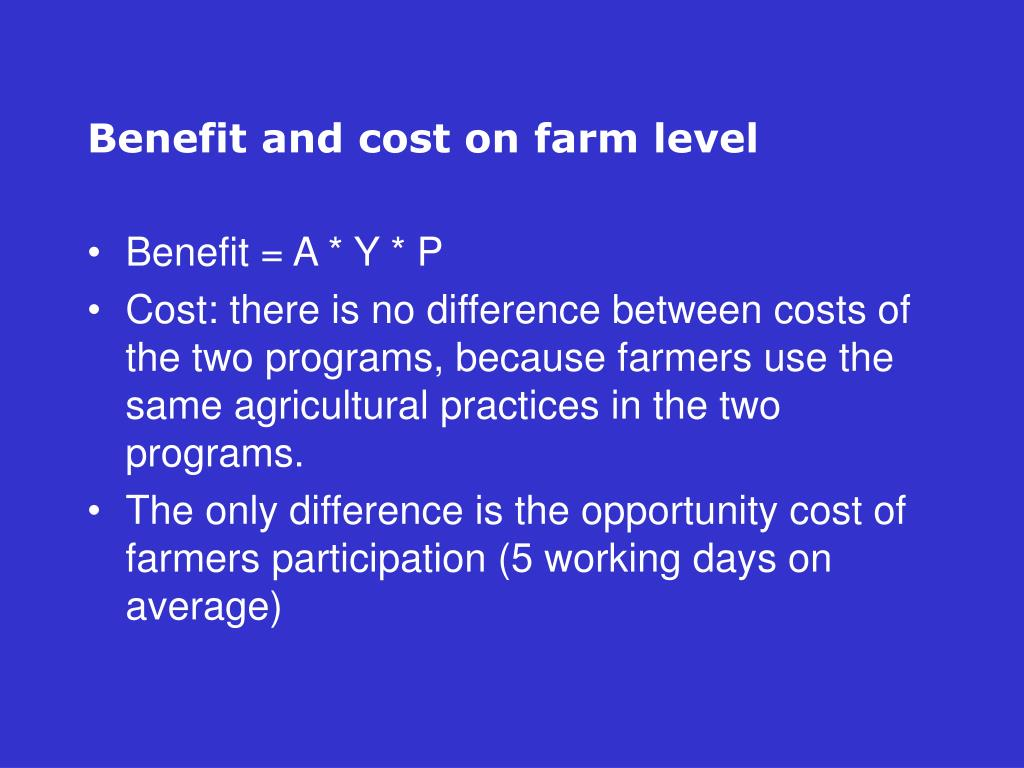 Benefit and cost on farm level
