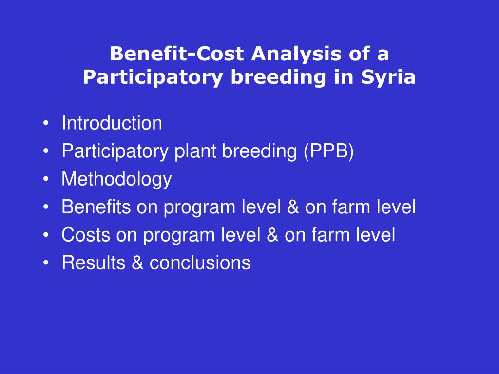 Benefit-Cost Analysis of a Participatory breeding in Syria