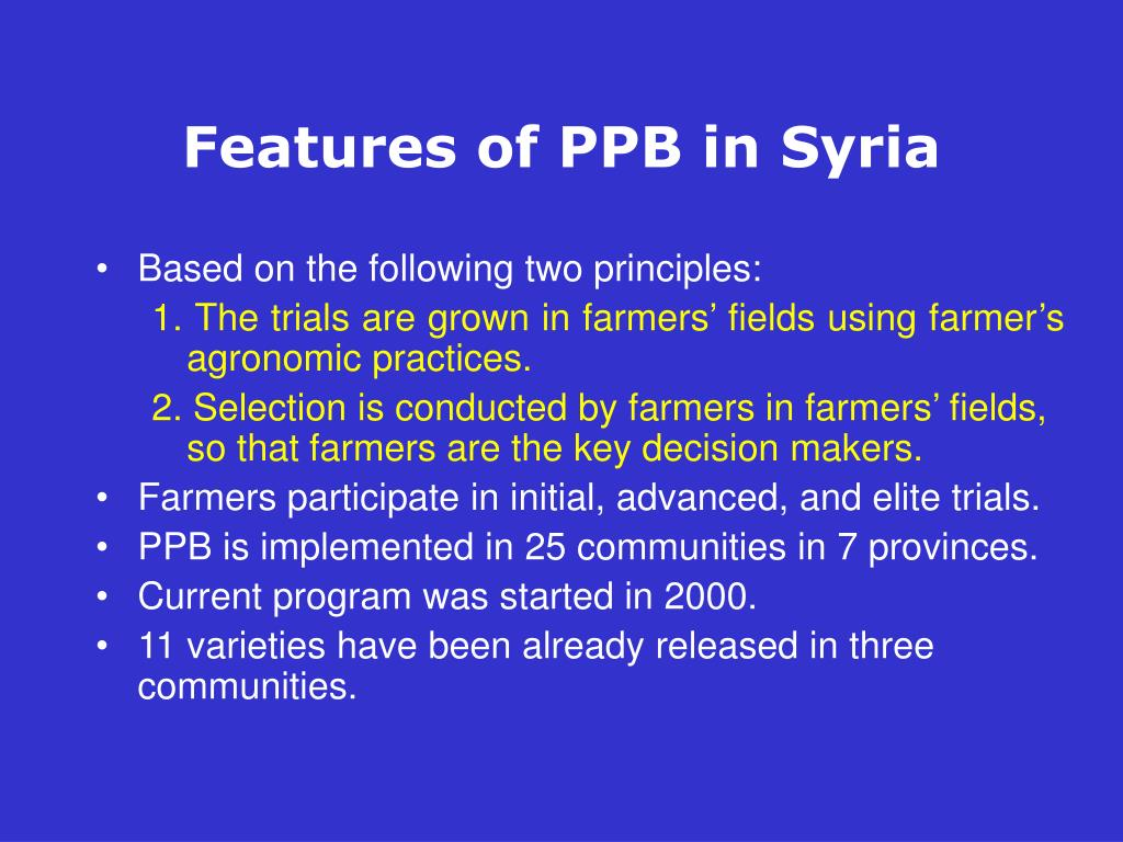 Features of PPB in Syria