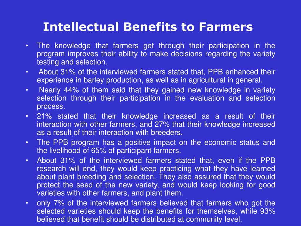 Intellectual Benefits to Farmers