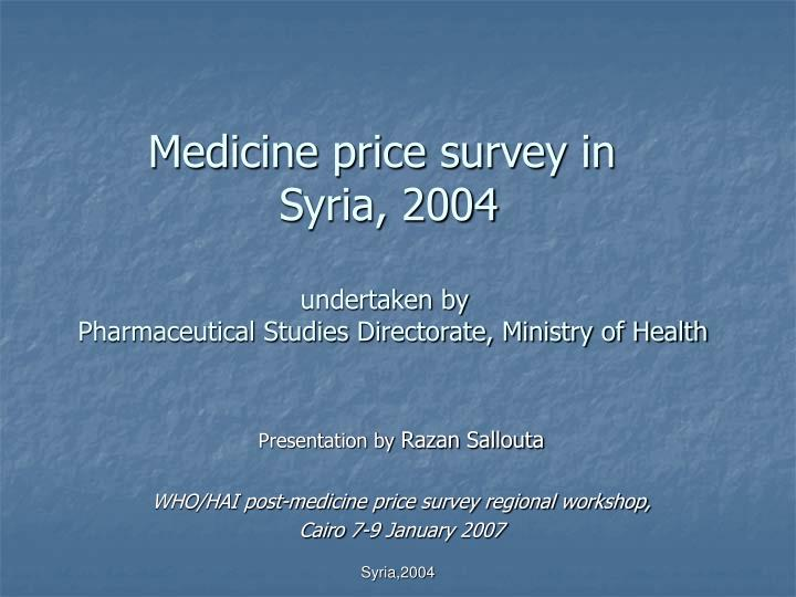 Medicine price survey in