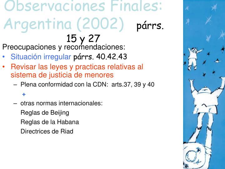 Observaciones Finales: Argentina (2002)