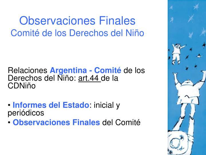 Observaciones Finales