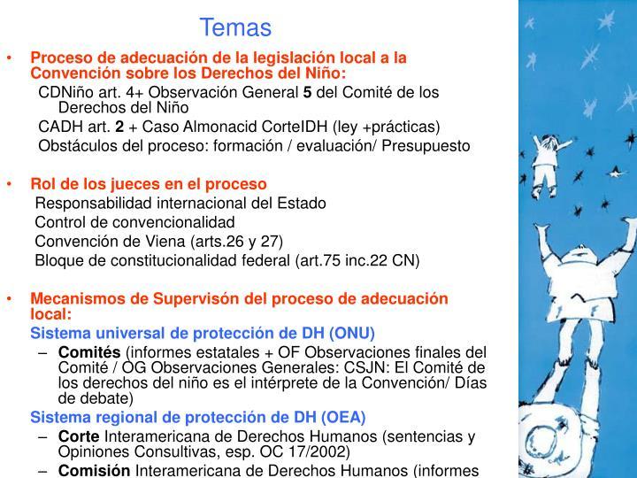 Proceso de adecuación de la legislación local a la Convención sobre los Derechos del Niño: