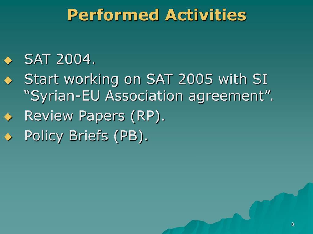 Performed Activities