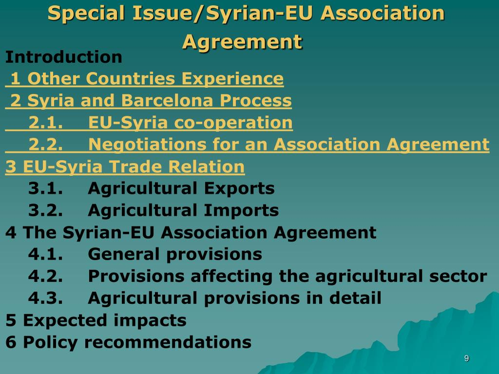 Special Issue/Syrian-EU Association Agreement